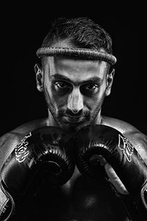 Headshot Photo, Portrait and Headshot photography for Muay Thai Boxing Fighter Profile photo taken in Studio in Koh Samui, Thailand
