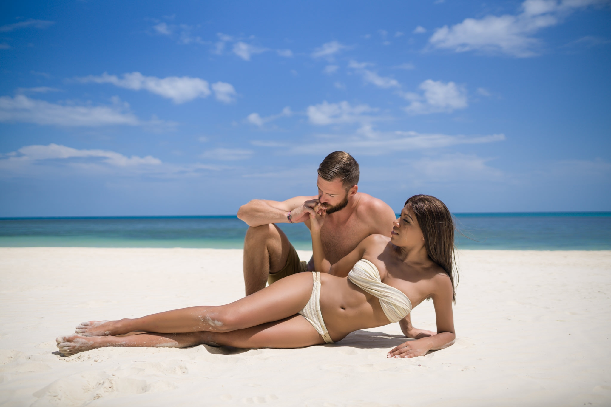 Couple photo on the beach at four season Koh Samui